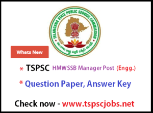 tspsc hmwssb manager 2015 key