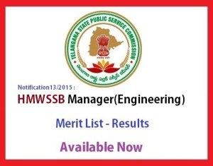 HMWSSB Manager enigineering results - merit list