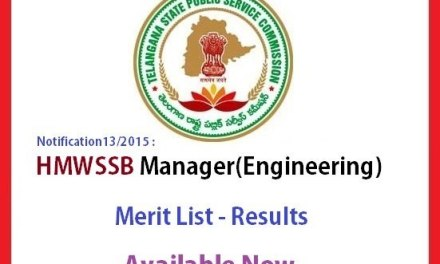 TSPSC HMWSSB Manager Engineering Merit List – Results