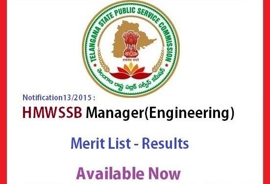 TSPSC HMWSSB Manager Engineering Merit List – Results