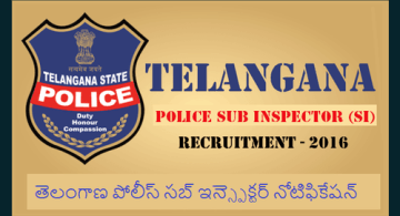 TS Sub inspector recruitment 2016 - check now