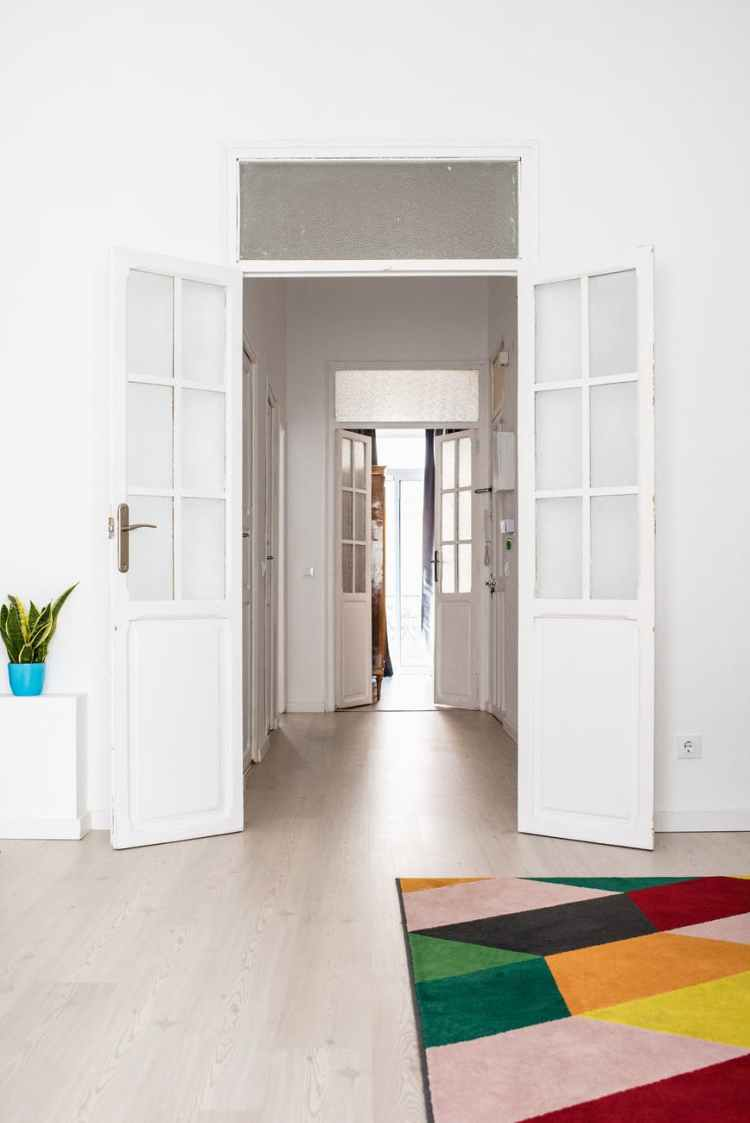 wide open white wooden door