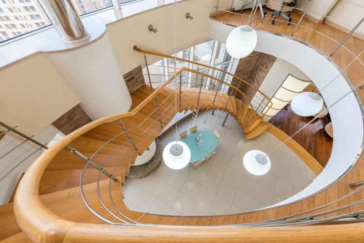 staircase with railing in modern apartment