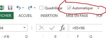 Malgré le mode de calcul automatique, excel ne calcule pas ma formule