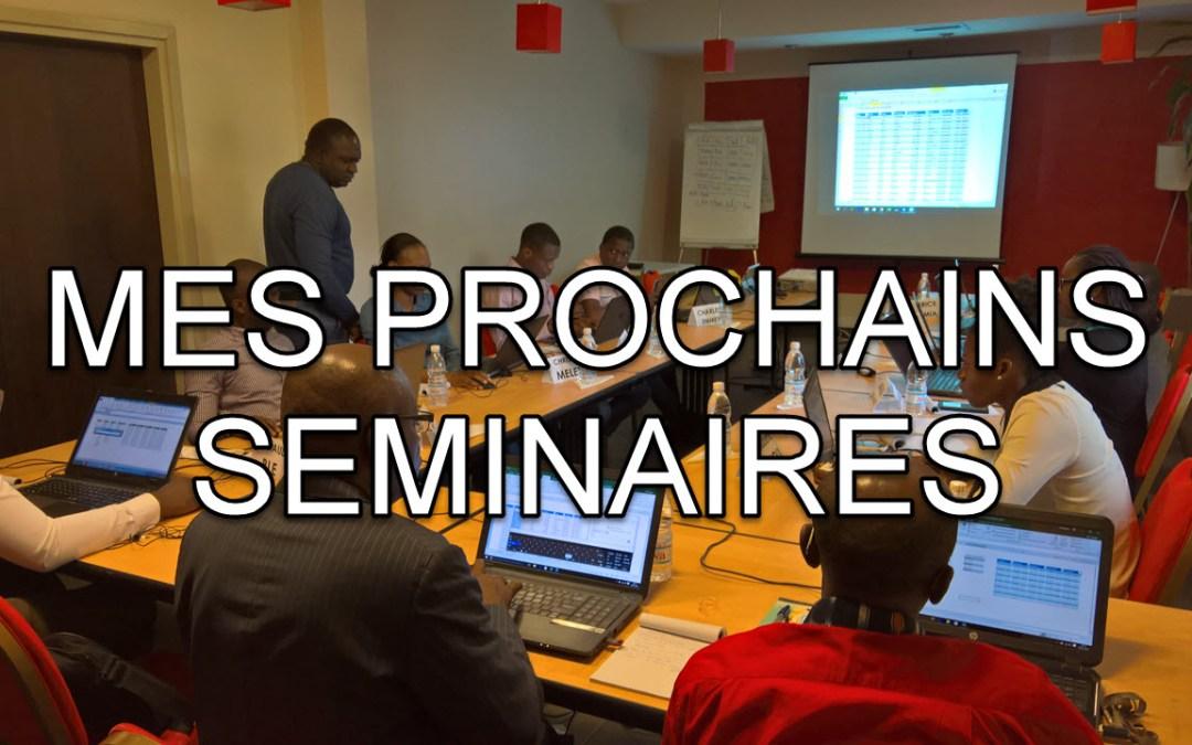 Ne ratez pas mes derniers séminaires de l'année à Abidjan (audit avec Excel, tableaux de bord niv1, niv2…)
