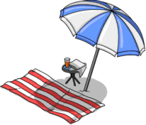 beach towel and umbrella