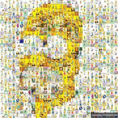 Cartoon Homer Simpson Celebrity Optical Illusion