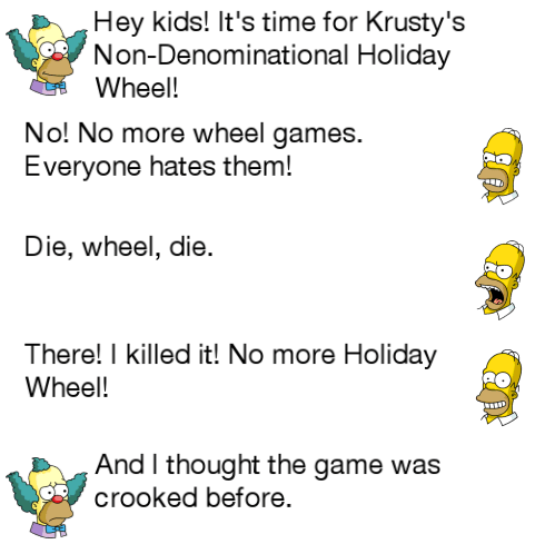 destroyed holiday wheel dialogue