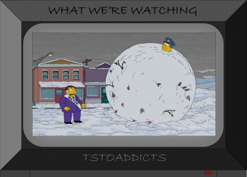 Wiggum and Lou stuck in a giant snowball Simpsons