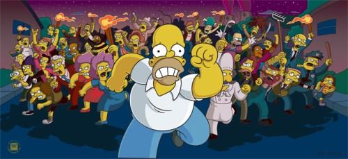 Angry Mob Chasing Homer Simpson