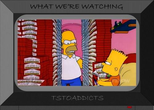 Bart Simpson reads Radioactive Man Comic while guarding cigarettes
