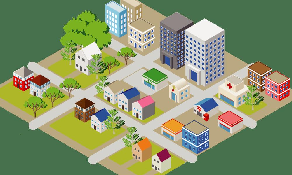 立体地図のイラスト