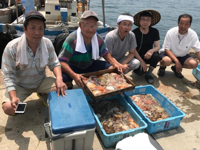 7月27日(木)の釣果(マダコ船中102杯)