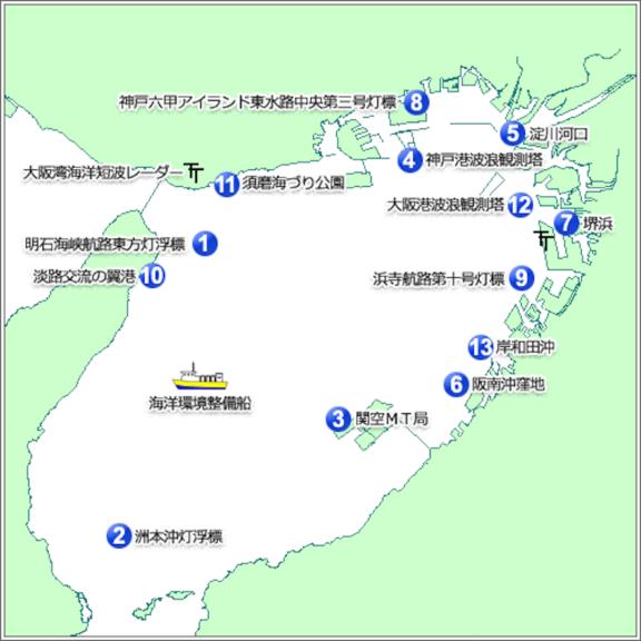 大阪湾観測データ配信ページ(経時変化図など)を追記しました