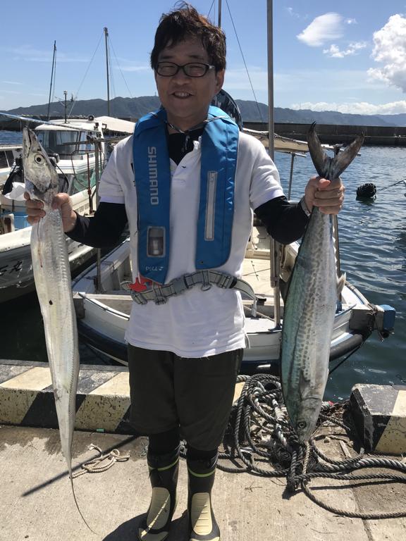 2019-9-8-タチウオ121cmとサワラ78cm