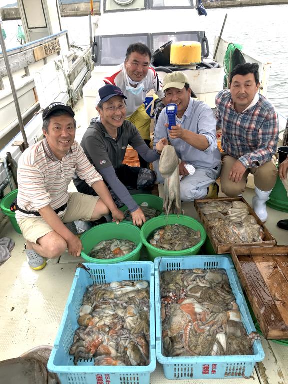 7月9日(木)の釣果(マダコ3.5kg含む船中173杯)