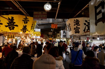 tsukiji fish market! quite a crazy place haha filled with never-ending rows of stores