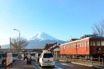 kawaguchiko train station with mt fuji behind! when we arrived it was really foggy but luckily the skies were clear and we got to see this when we were leaving that area