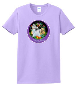 lavendar tee shirt with logo