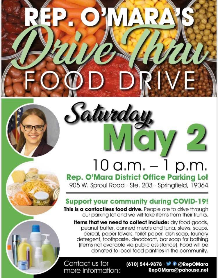 Rep. O'Mara Drive Thru Food Drive for Delco @ Rep. O'Mara District Office Parking Lot