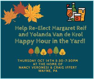 Help Re-Elect Yolanda Van de Krol and Margaret Reif @ Home of Nancy Veronesi and Craig Iffert