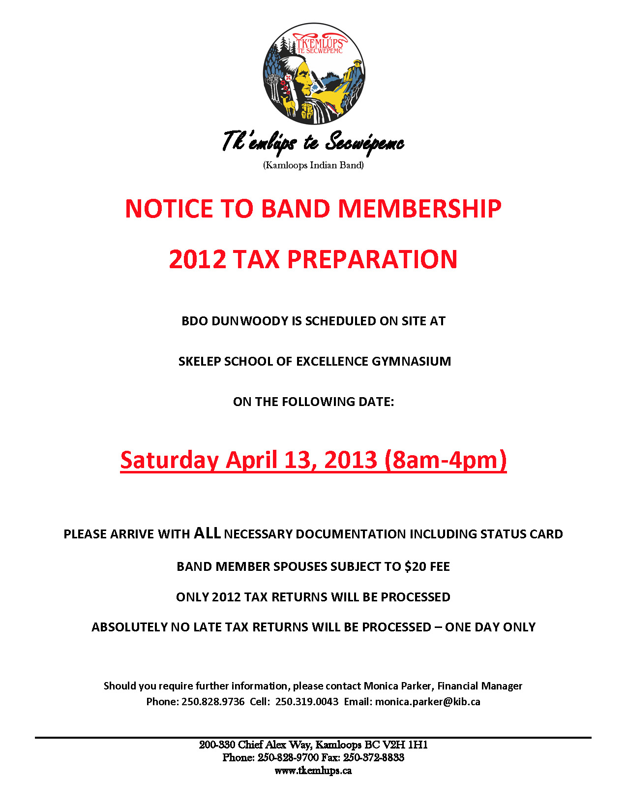 Notice To Band Membership Tax Preparation Ttes Weekly