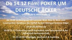 Filmabend POKER UM DEUTSCHE ÄCKER & Podium @ Weingut Andreas Dilger