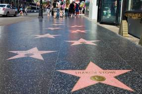 """""""Hollywood, USA - September 4, 2011: Sharon Stone's star on the Hollywood Walk of Fame. Located on Hollywood Boulevard and is one of 2400 celebrity stars made from marble and brass."""""""