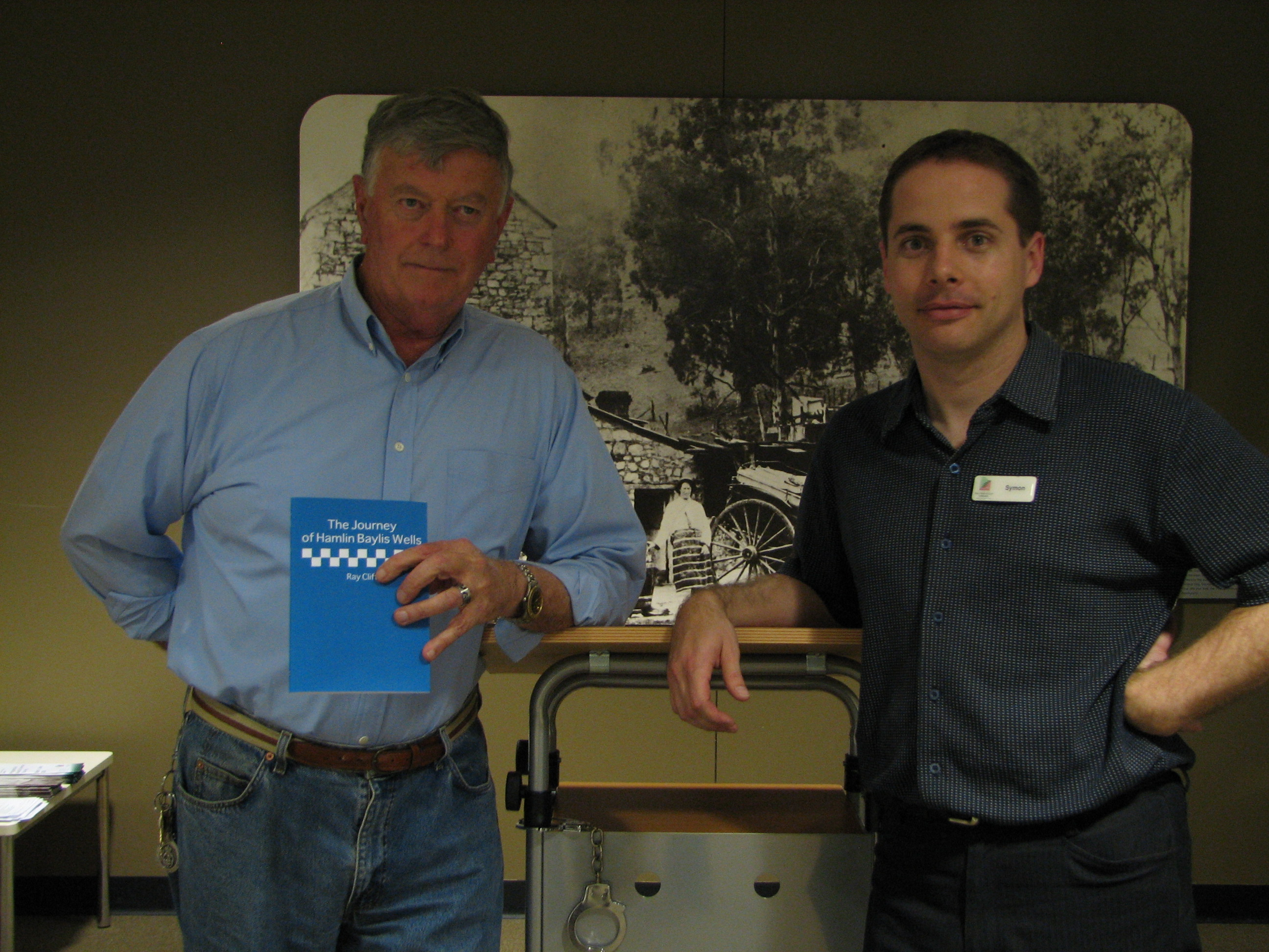 Ray Clift at the launch of his last book, with Symon from the CTTG Library programs team