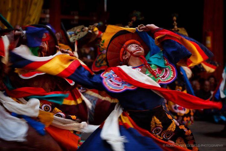 Swirling Black Hat Dancer - Bhutan