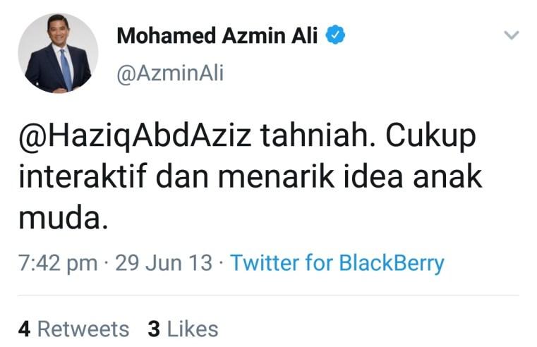 Koleksi tweet Azmin tag Haziq