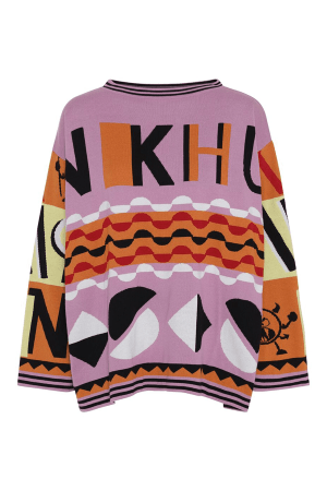 HunKøn - Statement Knit Pullover - Multi Colour - Front