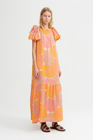 Rodebjer - Bessie Block Rose Dress - Pink, Mango, Sand - Front