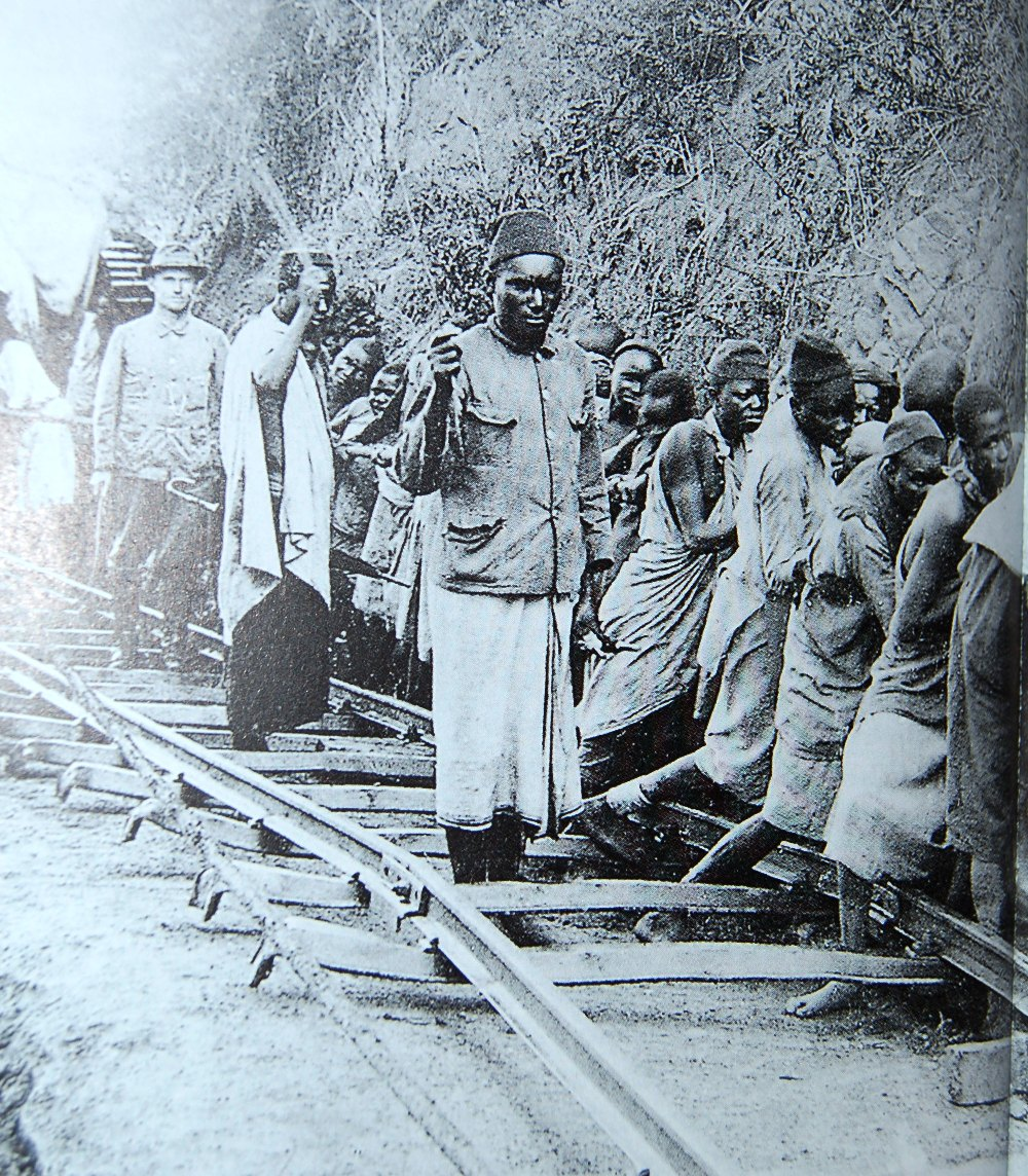 Construction of the railway in Tanzania.