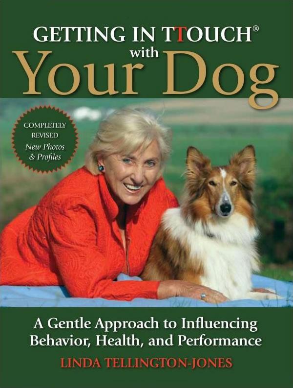 Linda Tellington Jones sits with a beautiful Sheltie dog.