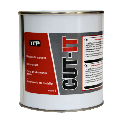 Close up photo of TTP can of CUT-IT 500ml metal lubricant
