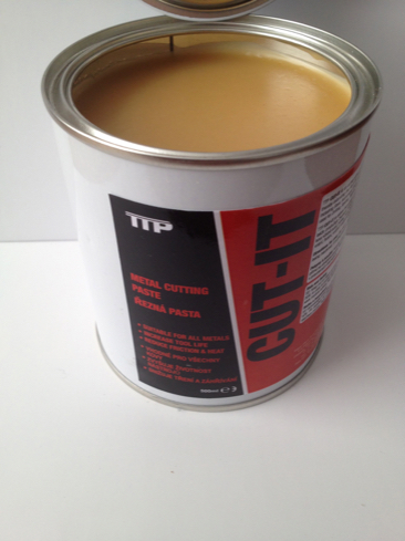 Open tin of TTP CUT-IT lubricant paste