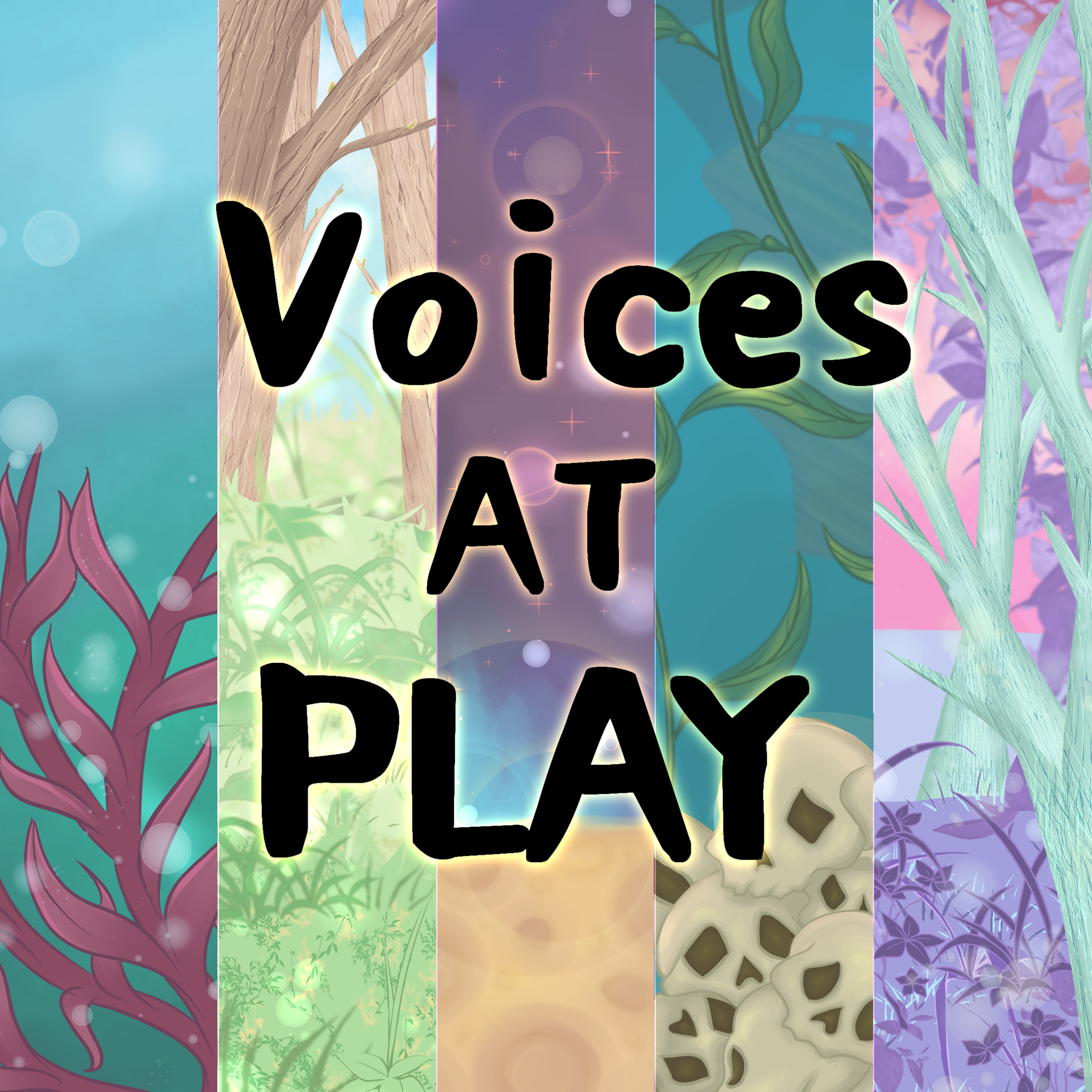 """Cover art showing 5 different scenes. A woodland, an underwater scene, a pile of skulls, the surface of a moon and a strange alien world. The text reads, """"Voices at play"""""""