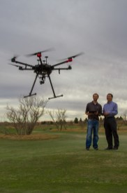 According to the projects lead researcher, Joey Young Ph. D. [Left], golf courses in the Lubbock area provide economic benefit to the region. Young, along with Guo Ph. D. [Right], will utilize a drone, equip with various sensors, in hopes of identifying the optimum sensor to detect drought stress on turfgrass.