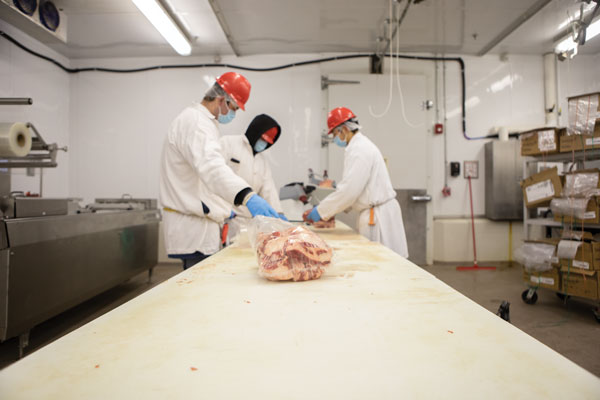 Students working in lab at Raider Red Meats