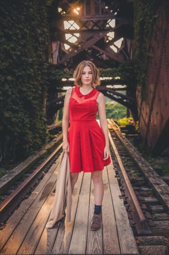 Senior Pictures by abandoned bridge in Cleveland