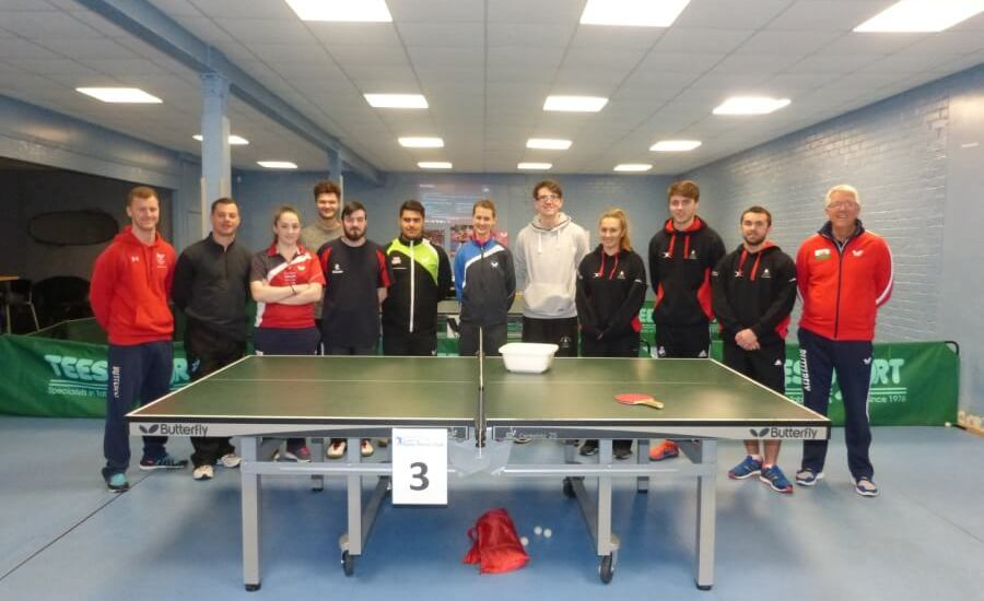Ryan Oyler and Moystn Lewis (in red tracksuits) with a group of budding coaches