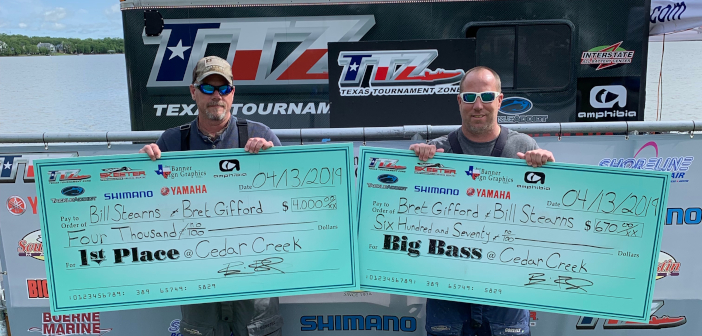 BRETT GIFFORD & BILL STEARNS WIN ON CEDAR CREEK WITH 24.16LBS AND TAKE HOME $4,670