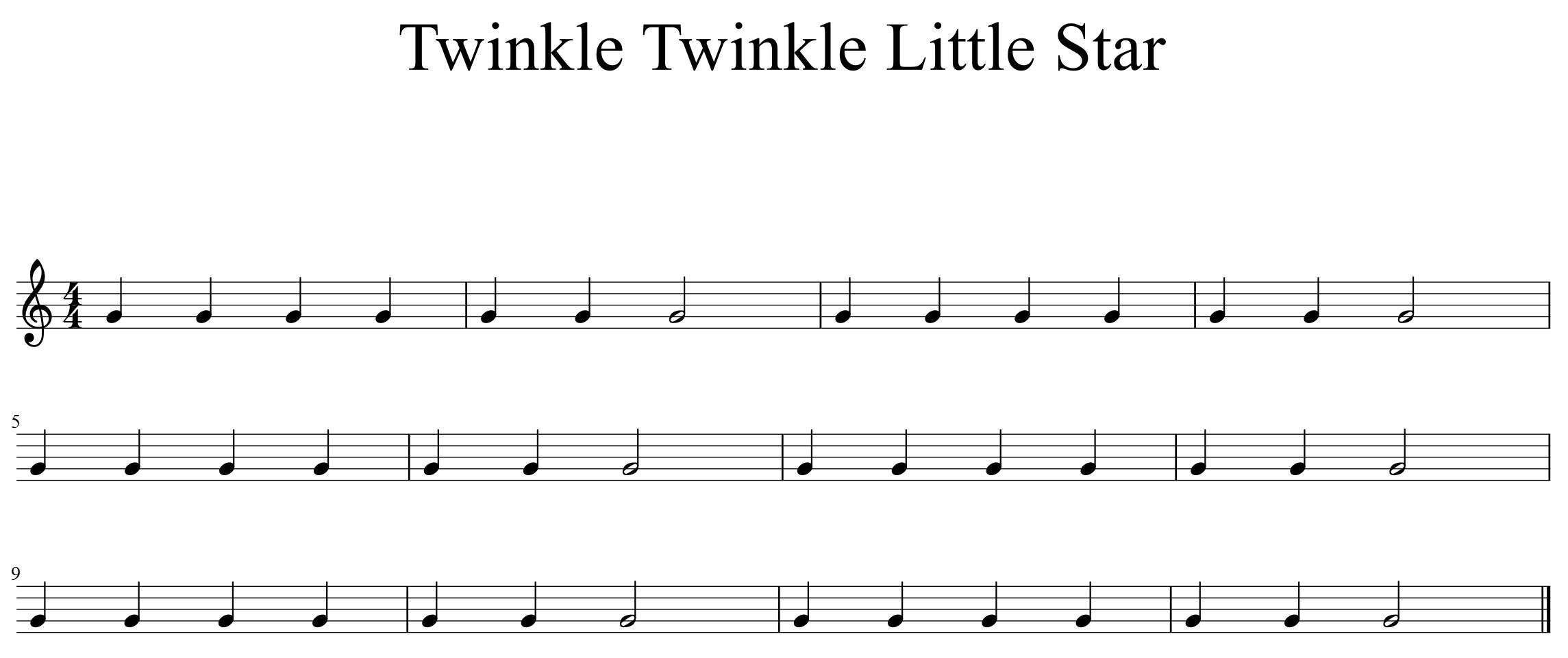 Quarter Notes Half Notes And Twinkle Twinkle Little Star