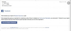 Facebook reply after removing an offensive post