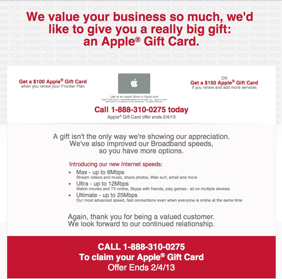 How Not to Get a $100 Apple Gift Card from Frontier
