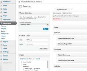 graphical menus in WordPress