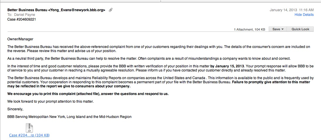 That's Not the Better Business Bureau