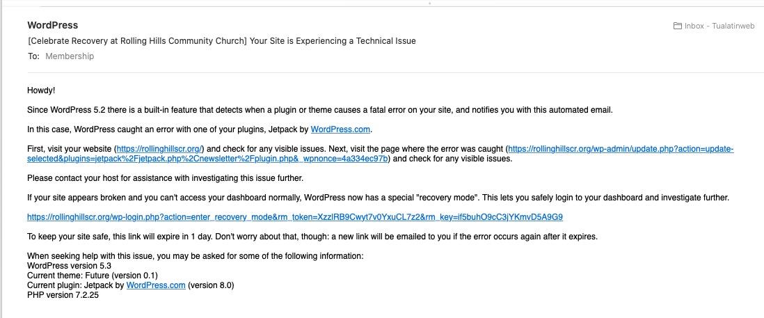 Updating Jetpack in WordPress Causes Fatal Error