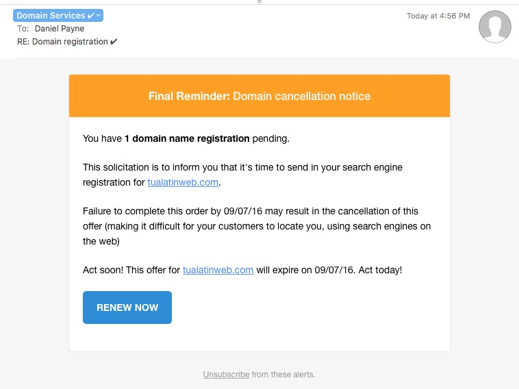 Read more about the article Spotting Fake Domain Name Registration Scams